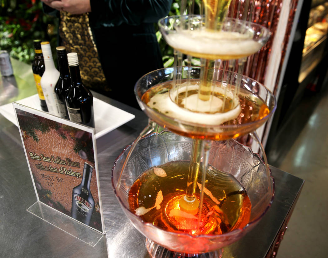 An apple juice fountain (that will turn to a sparkling wine fountain at noon) and spiked coffee ...