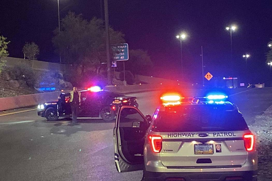 The entrance to Interstate 15 northbound is blocked at Sahara Avenue by Nevada Highway Patrol v ...