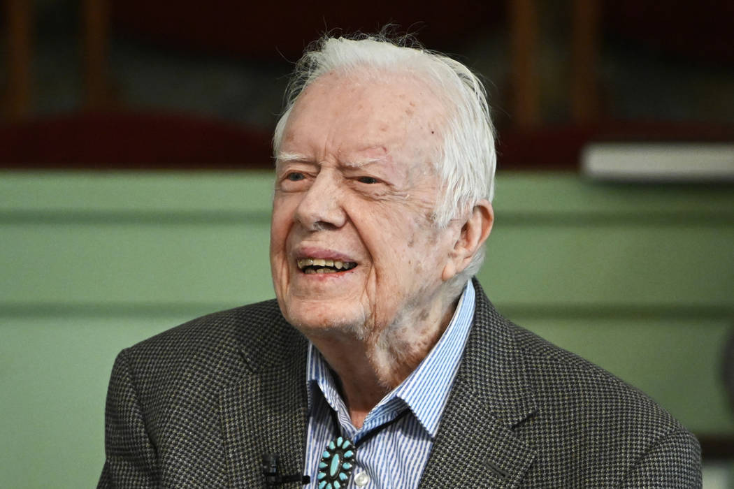 In a Nov. 3, 2019 file photo, former President Jimmy Carter teaches Sunday school at Maranatha ...
