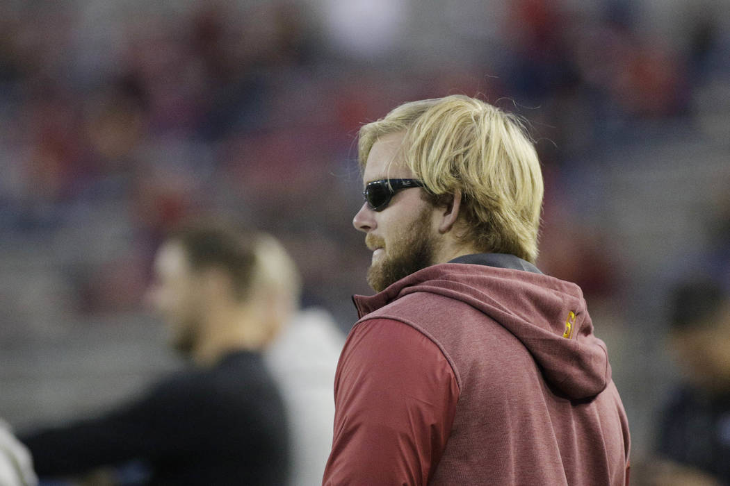 Southern California long snapper Jake Olson, who is blind form a rare form of retinal cancer, s ...