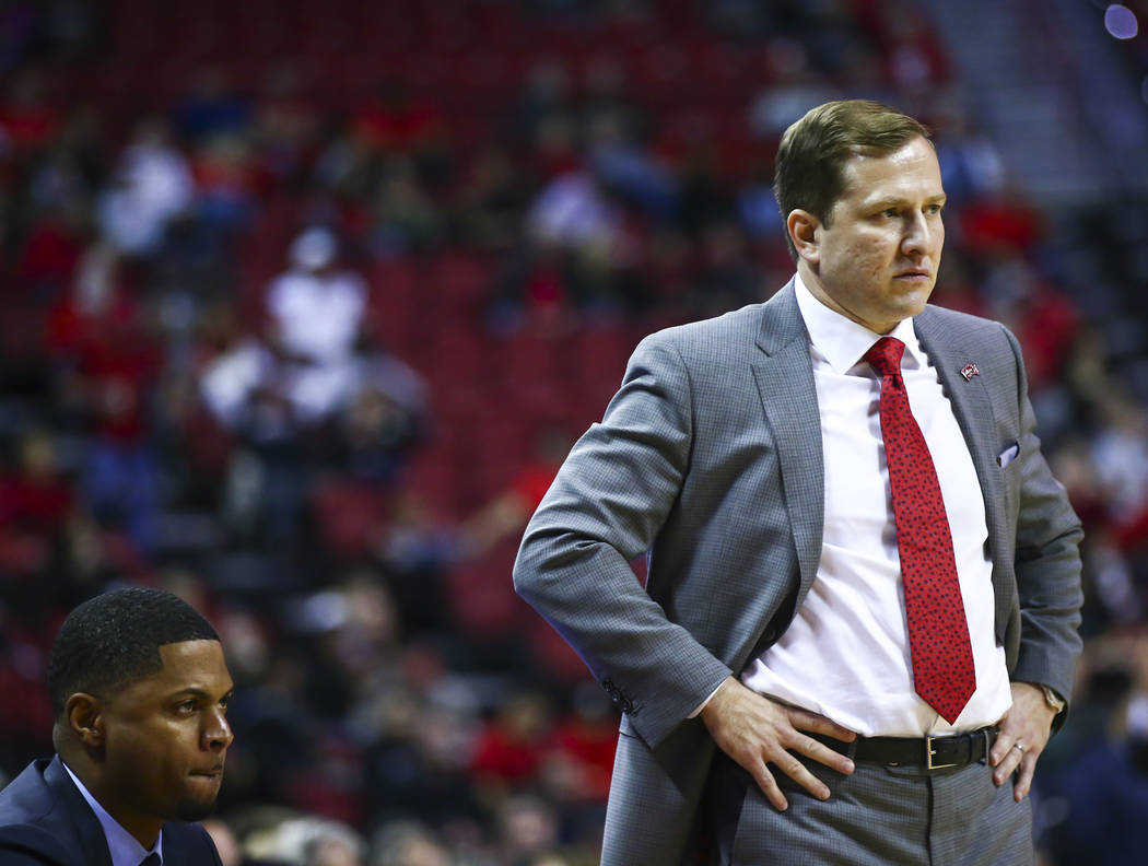UNLV head coach T.J. Otzelberger looks on during the second half of a basketball game against S ...