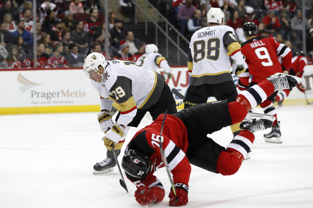 New Jersey Devils defenseman P.K. Subban (76) trips in front of Vegas Golden Knights right wing ...