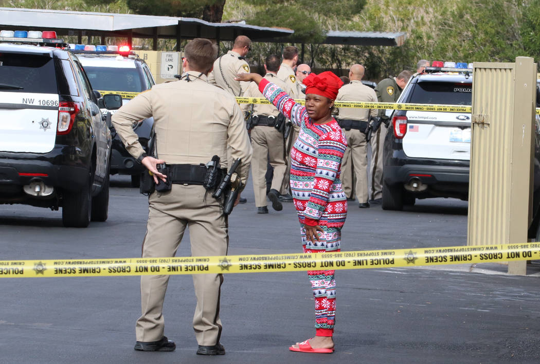 Las Vegas police are investigating after a person was struck multiple times in a shooting at th ...