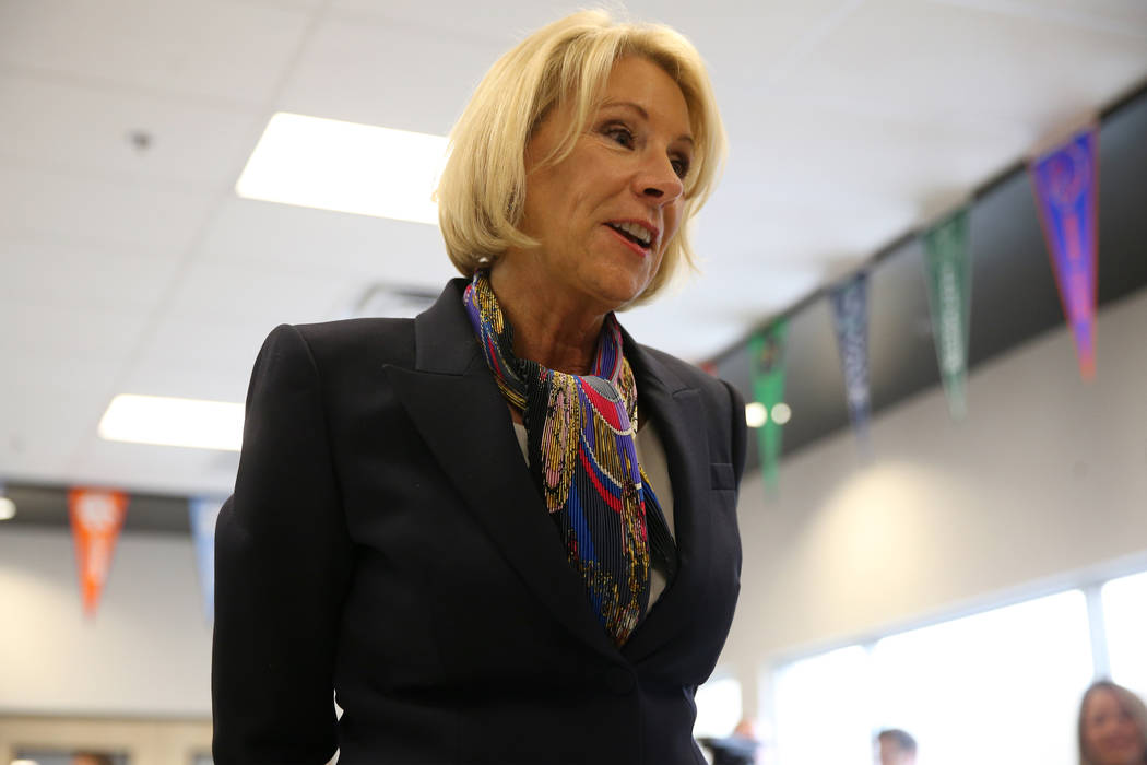 Secretary of Education Betsy DeVos speaks to students at Pinecrest Academyճ Cadence campu ...