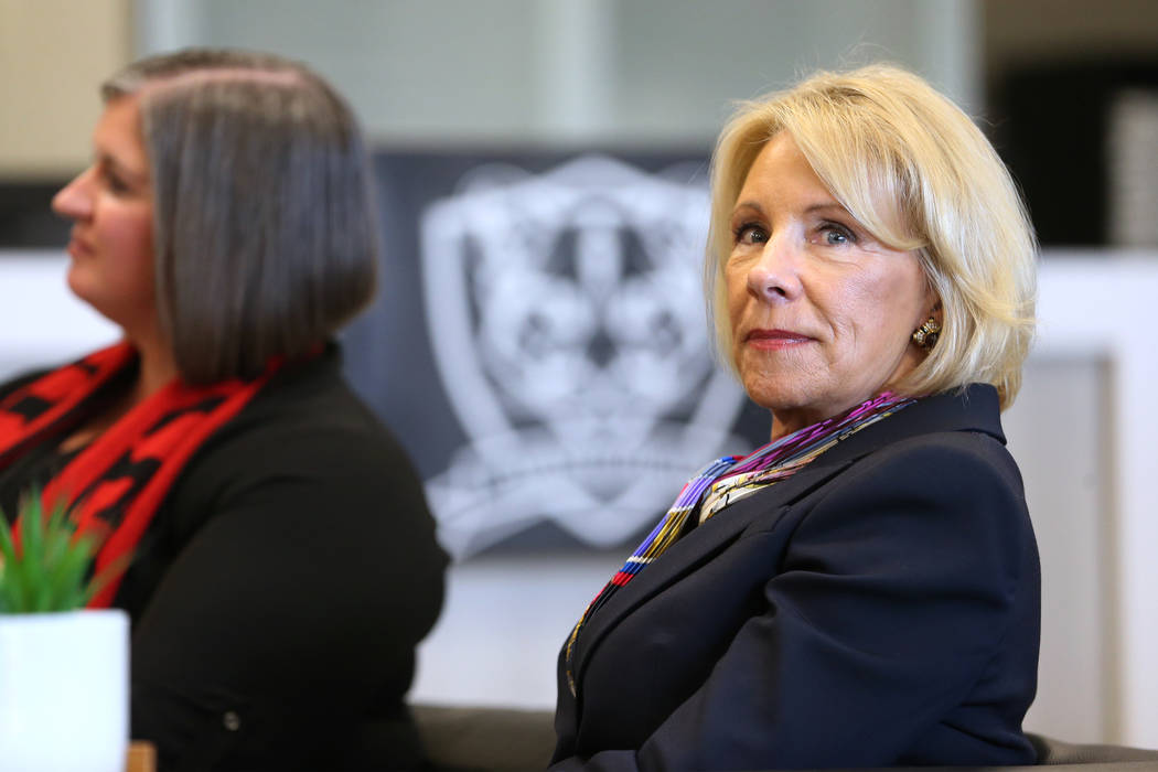 Secretary of Education Betsy DeVos is seen during a visit to Pinecrest Academyճ Cadence c ...