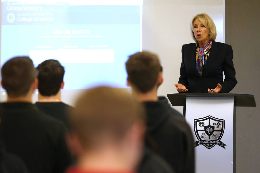 Secretary of Education Betsy DeVos speaks to students during a visit to Pinecrest Academy&#x573 ...