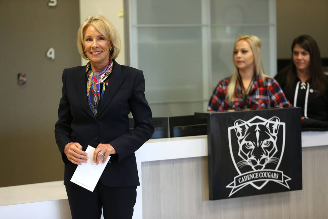 Secretary of Education Betsy DeVos is introduced during a visit to Pinecrest Academyճ Cad ...