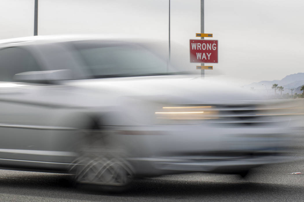 A car passes the Nevada Department of Transportation pilot program to alert wrong way drivers o ...