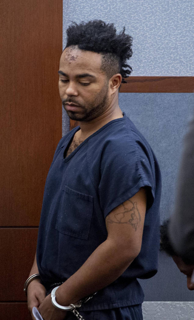 Nathaniel Postelle is seen during a hearing at the Regional Justice Center in Las Vegas on Tues ...