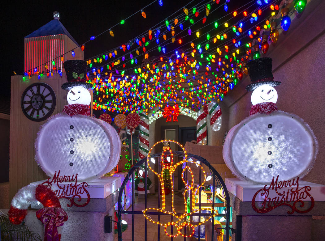 Holiday lights in the yard of Maria Acosta and Juan Torres which will be featured on ABC's Grea ...