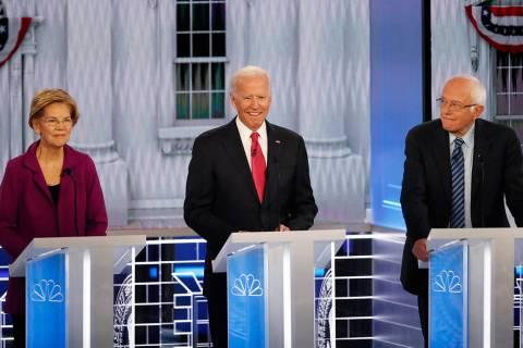 From left, Democratic presidential candidates Sen. Elizabeth Warren, D-Mass., former Vice Presi ...