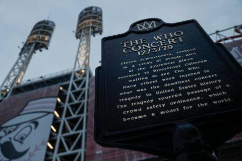 In this Wednesday, Nov. 20, 2019 photo, a memorial plaque for eleven concertgoers killed at a 1 ...