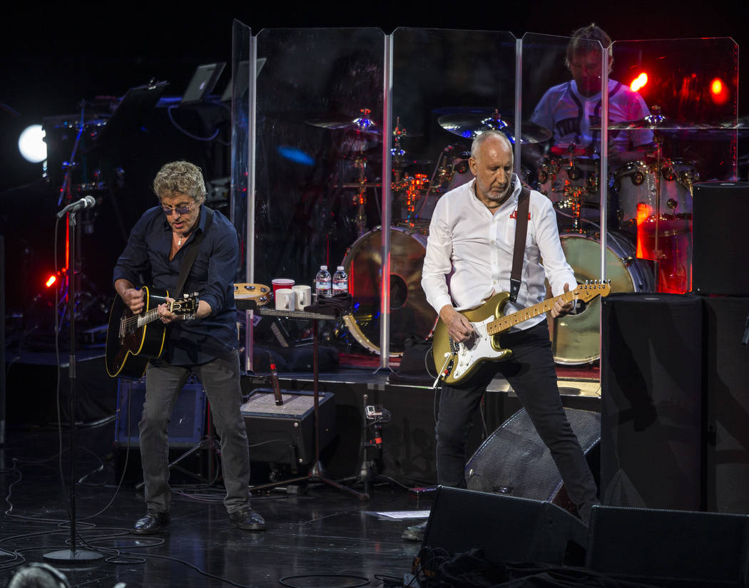 Roger Daltrey and guitarist Pete Townshend of The Who perform at the Colosseum at Caesars Palac ...