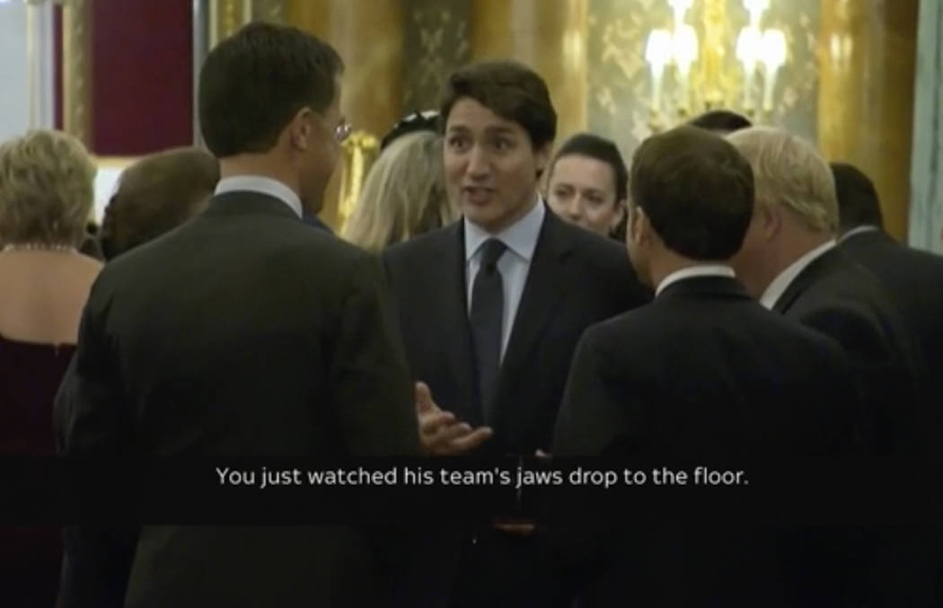 In this grab taken from video on Tuesday, Dec. 3, 2019, Canada's Prime Minister Justin Trudeau, ...