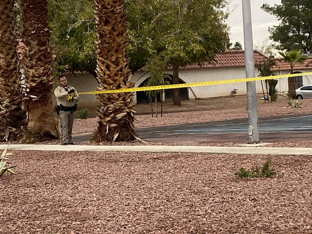 Las Vegas police investigate an incident at a single-story apartment complex on the 3500 block ...