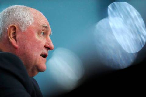 n a Feb. 27, 2019, file photo, Agriculture Secretary Sonny Perdue testifies during a House Agri ...