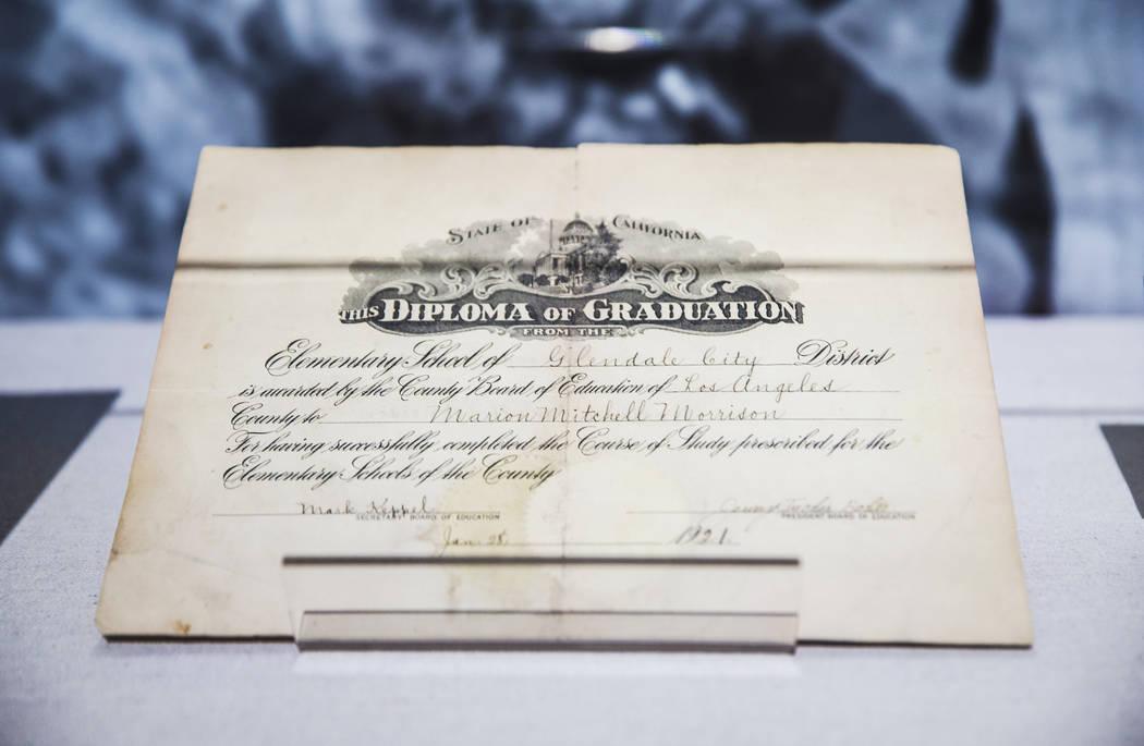 "Film icon John Wayne's elementary school graduation diploma in Glendale, Calif., at the ""J ..."