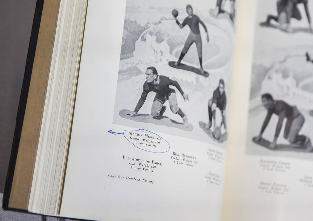 A Glendale High School football photograph of John Wayne, bottom/left, previouslynamed Ma ...