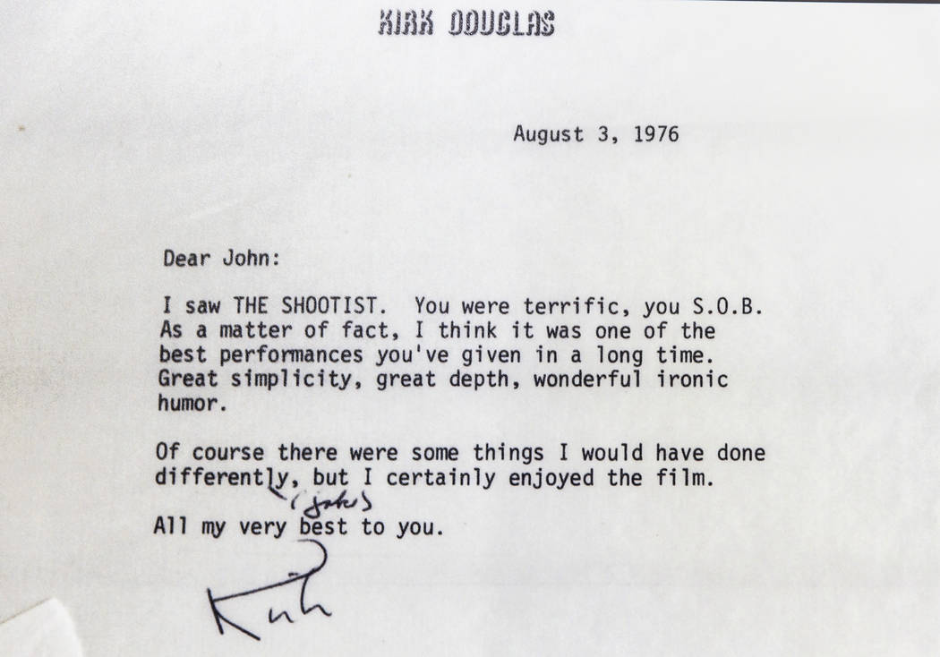 """I signed letter from actor Kirk Douglas complimenting film icon John Wayne at the """"John Wa ..."""