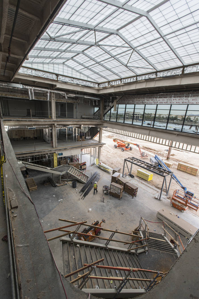 Construction continues on the main entrance to the future Raiders headquarters and practice fac ...