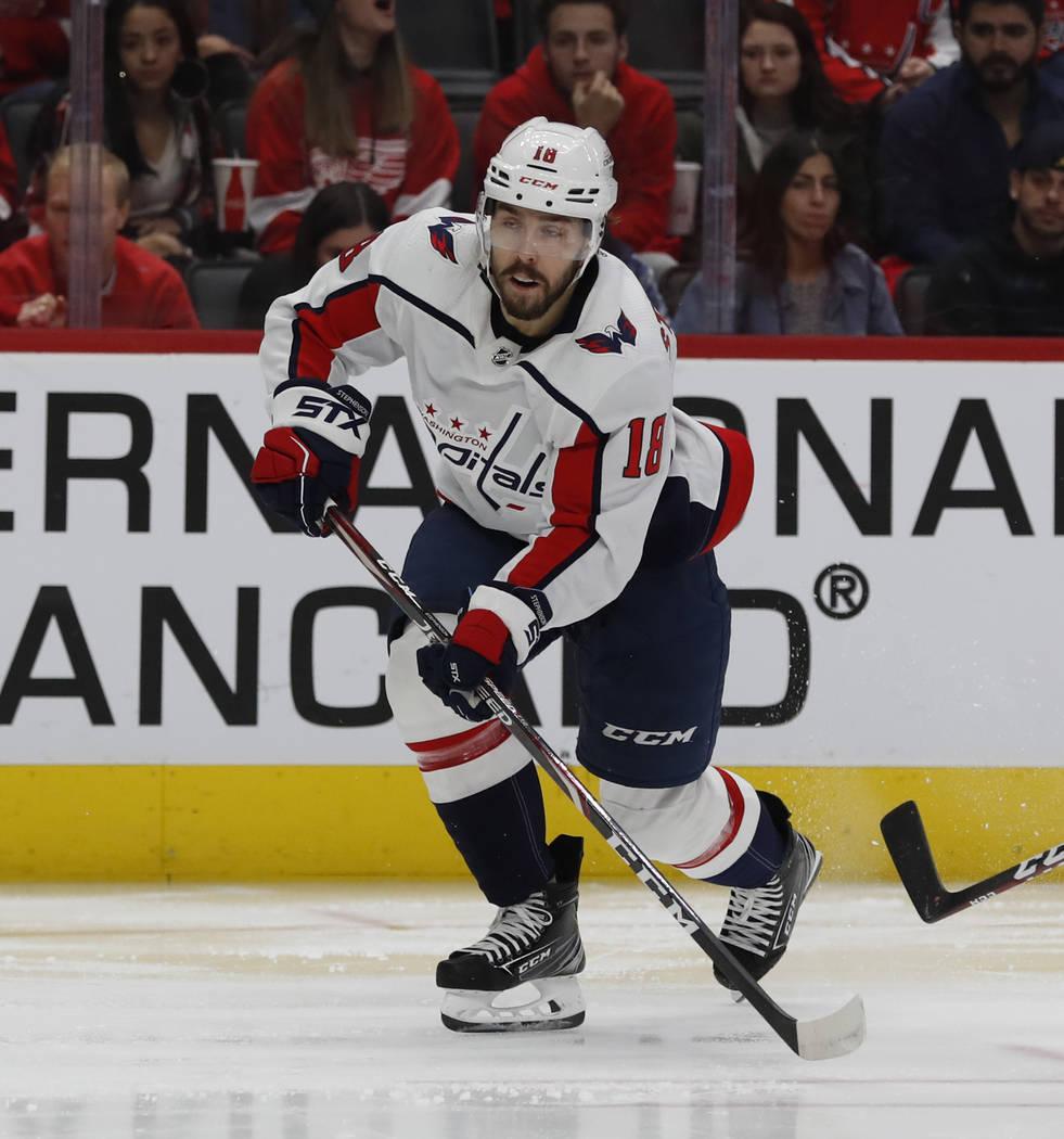 Washington Capitals center Chandler Stephenson skates during the third period of an NHL hockey ...