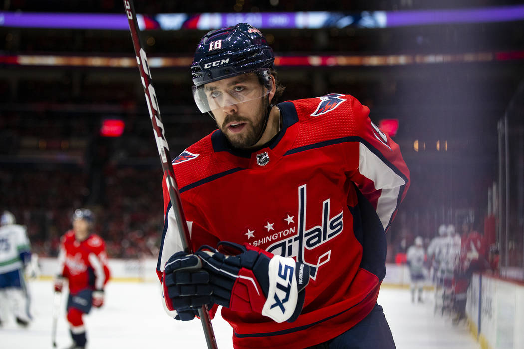 Washington Capitals center Chandler Stephenson (18), from Canada, skates during the second peri ...