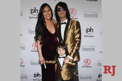 Shaunyl Benson, Johnny Crisstopher Sarantakos and illusionist Criss Angel attend the grand open ...