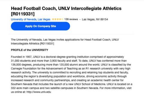 UNLV has posted a job listing to fill Tony Sanchez's position as head football coach. (Indeed)
