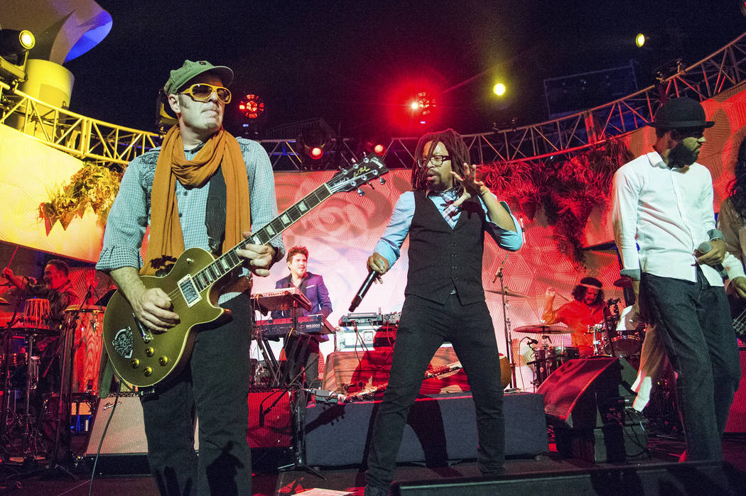 Rob Myers, left, and Mr. Lif of Thievery Corporation perform on board the Norwegian Escape duri ...