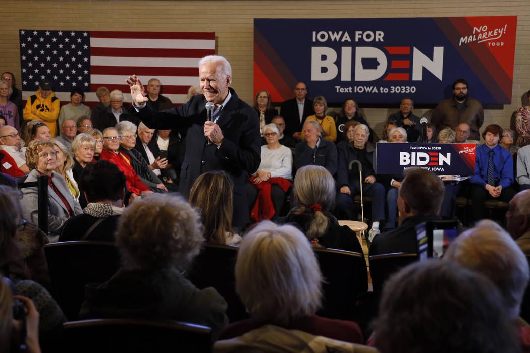 Democratic presidential candidate former Vice President Joe Biden speaks to local residents dur ...