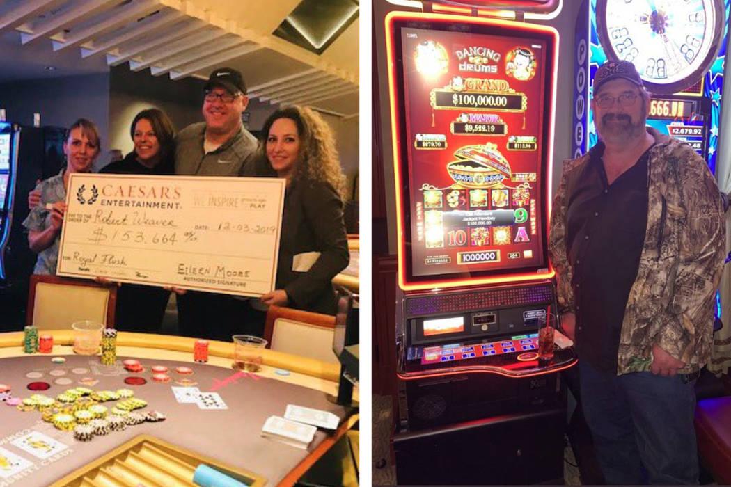 Robert Weaver, left, and Raymond enjoy their $100,000 hits in Las Vegas. (Twitter)