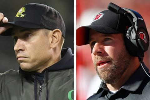 Oregon offensive coordinator Marcus Arroyo, left, and Utah defensive coordinator Morgan Scalley ...