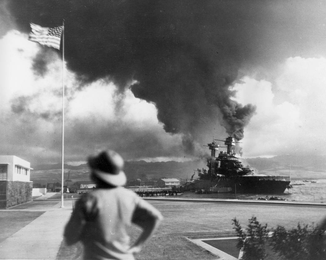 ** FILE ** American ships burn during the Japanese attack on Pearl Harbor, Hawaii, in this Dec. ...