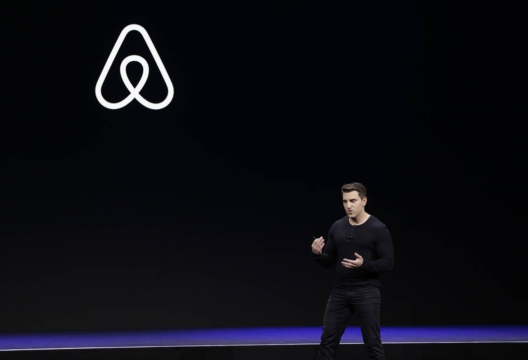 In a Feb. 22, 2018, file photo Airbnb co-founder and CEO Brian Chesky speaks during an event in ...