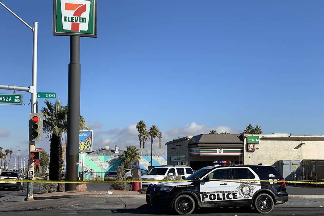 Las Vegas police investigate a stabbing near Bonanza Road and Las Vegas Boulevard North on Thur ...