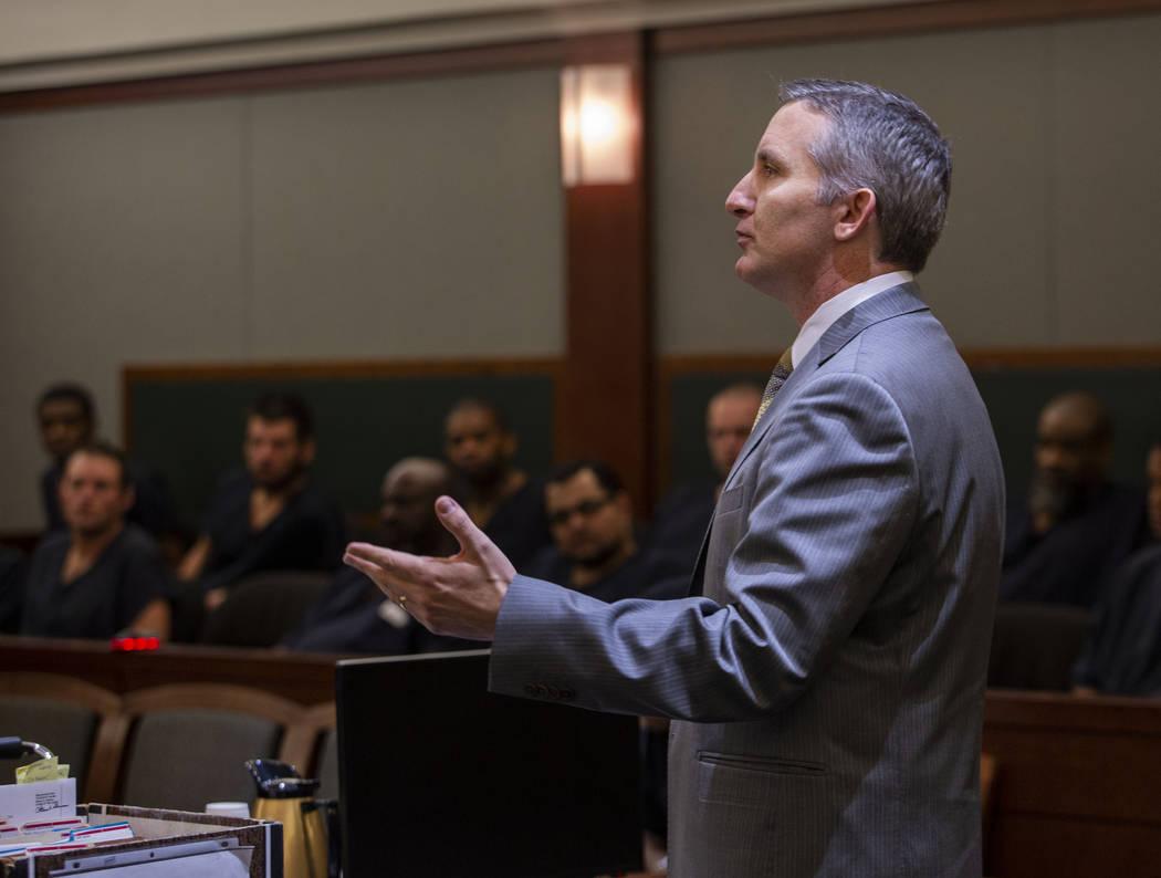 Prosecutor Giancarlo Pesci speaks to Judge Michelle Leavitt during a hearing for Bayzle Morgan ...