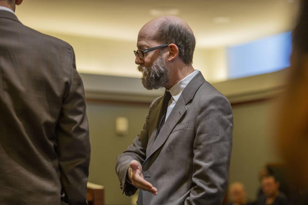 Defense attorney Dayvid Figler speaks to Judge Michelle Leavitt on behalf of Bayzle Morgan duri ...