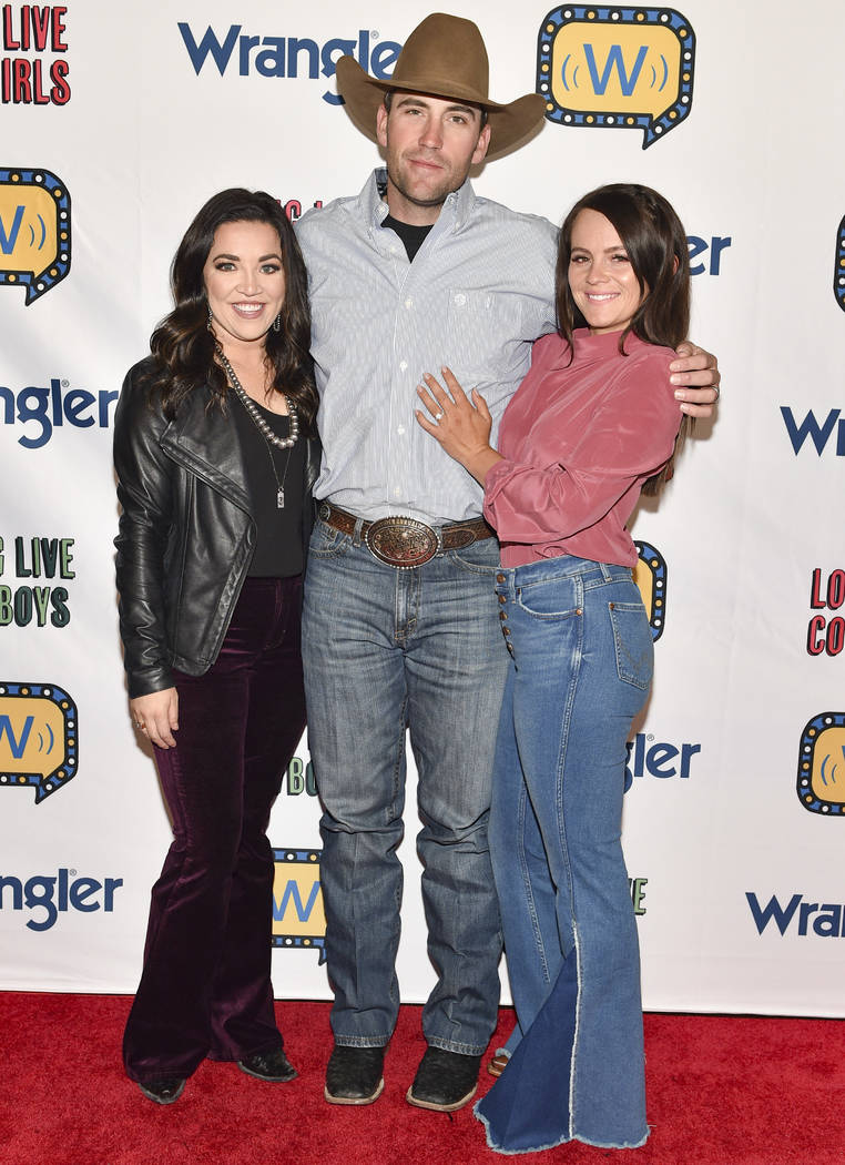 (L-R) Tassie Munroe, Billie Jack Saebens and Ivy Conrado-Saebens attend the WNFR Party With Aba ...