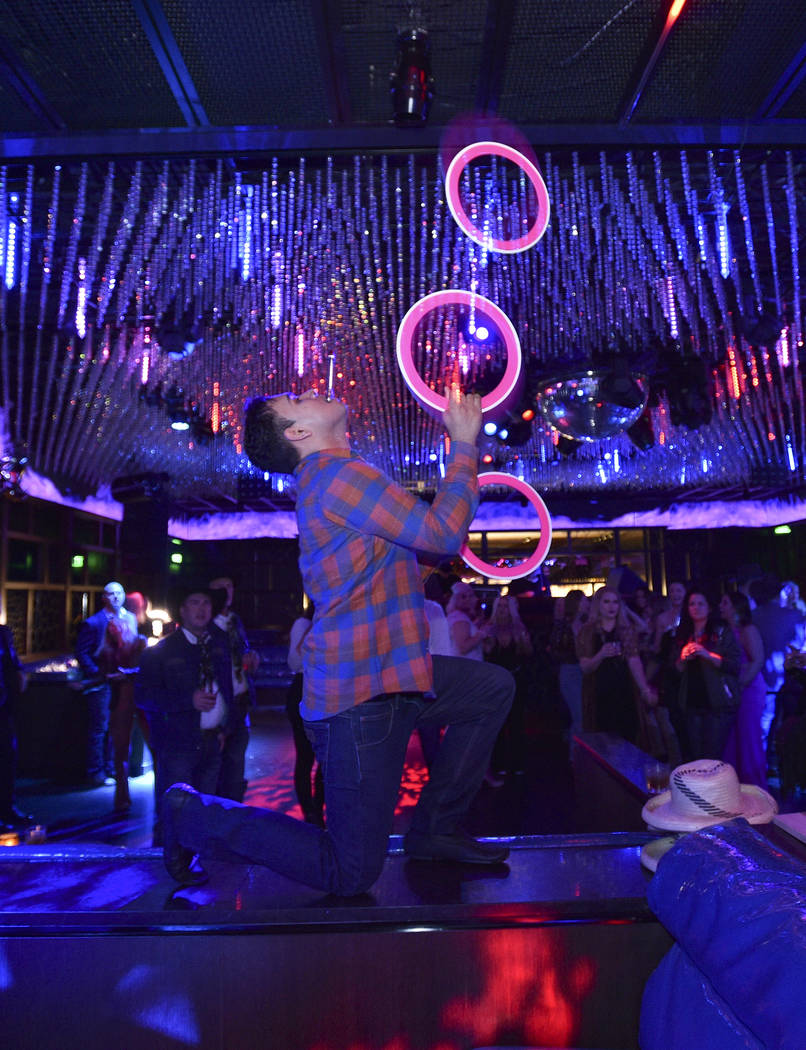 Rolando Bells performs during the WNFR Party With Abandon at the Ling Ling Club in Hakkasan Las ...