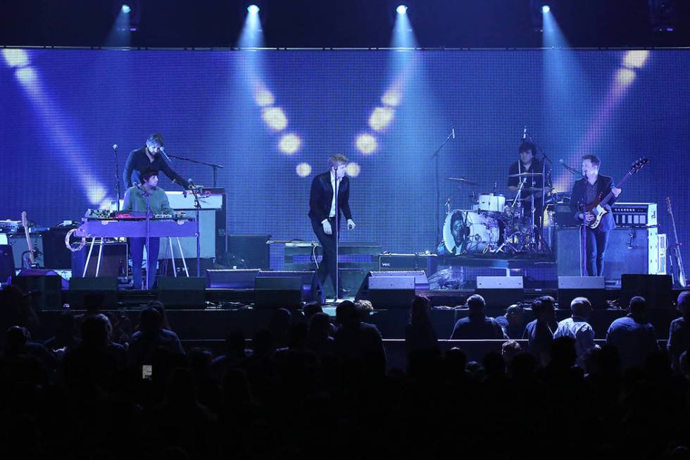 Rock band Spoon perform on stage at the 2018 iHeartRadio ALTer EGO festival at The Forum on Fri ...