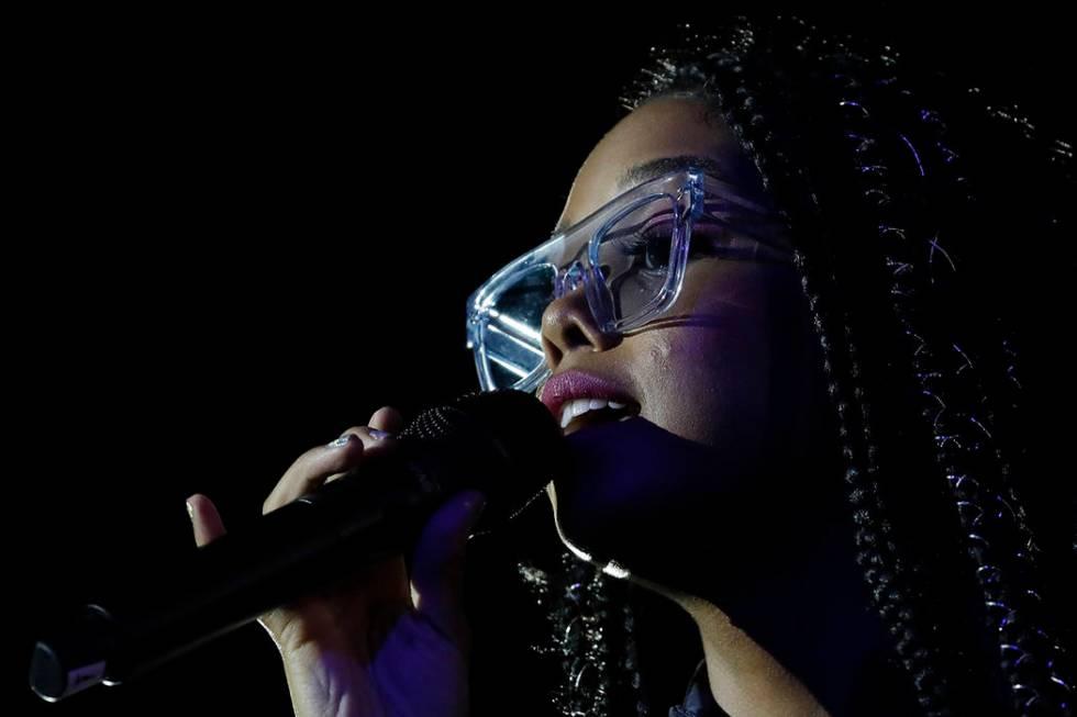 U.S. singer H.E.R. performs at the Rock in Rio music festival in Rio de Janeiro, Brazil, Saturd ...