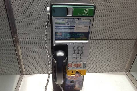 A CenturyLink pay phone can be used in Terminal 3 at McCarran International Airport in Las Vega ...
