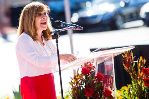 Marta Meana, UNLV acting president, speaks during a ribbon cutting ceremony for the Fertitta Fo ...
