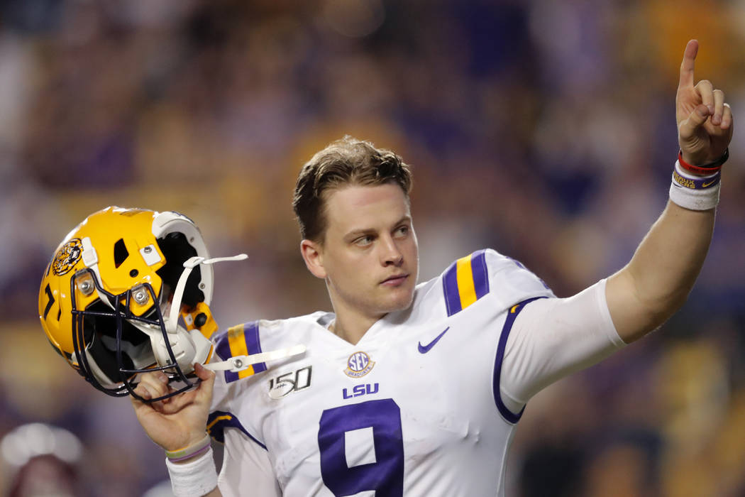 LSU quarterback Joe Burrow, who is considered a frontrunner for the Heisman Trophy, acknowledge ...