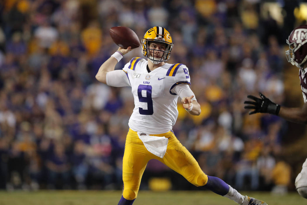 LSU quarterback Joe Burrow throws a pass during the second half of the team's NCAA college foot ...