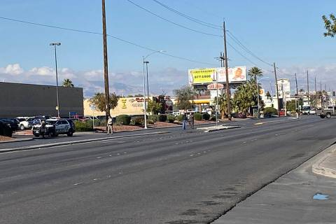A large police presence has Nellis Boulevard closed in both directions between Charleston Boule ...