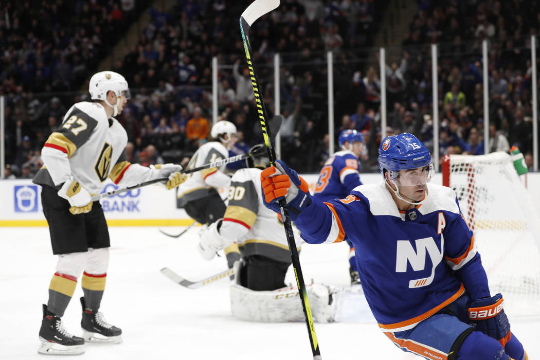 New York Islanders right wing Cal Clutterbuck (15) reacts after scoring a goal on Vegas Golden ...