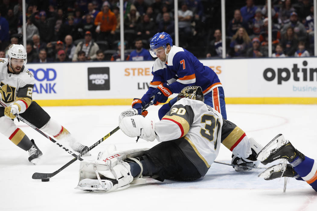 New York Islanders right wing Jordan Eberle (7) tries to get off a shot against Vegas Golden Kn ...