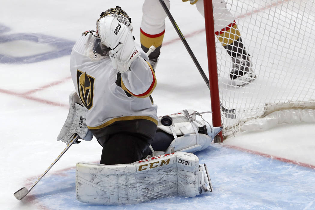 Vegas Golden Knights goaltender Malcolm Subban gives up a goal to New York islanders' Brock Nel ...