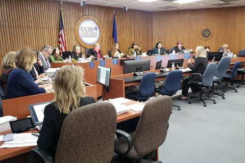 CCSD trustees hold evaluation of Superintendent Jesus Jara during a meeting Thursday, Dec. 05, ...